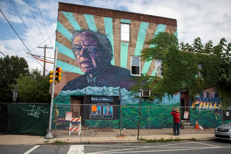 """The """"Philly the Bern"""" mural on the side of the building of 2146 Catharine St. The building has been deemed unsafe and is being demolished."""