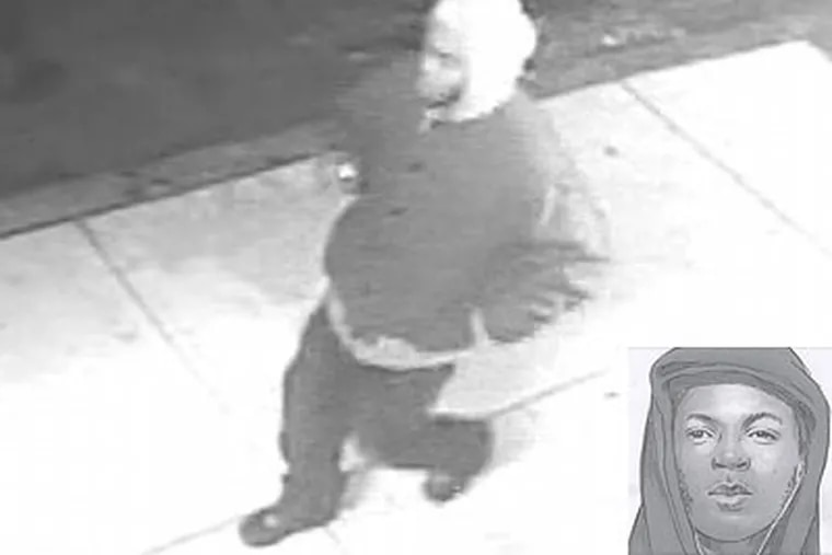 Philadelphia police released this computer enhanced still Friday of a suspect in a series of strangulations in the Kensington section of the city taken from a video surveillance camera. A police sketch of the suspect (inset) was based on a victim's description.