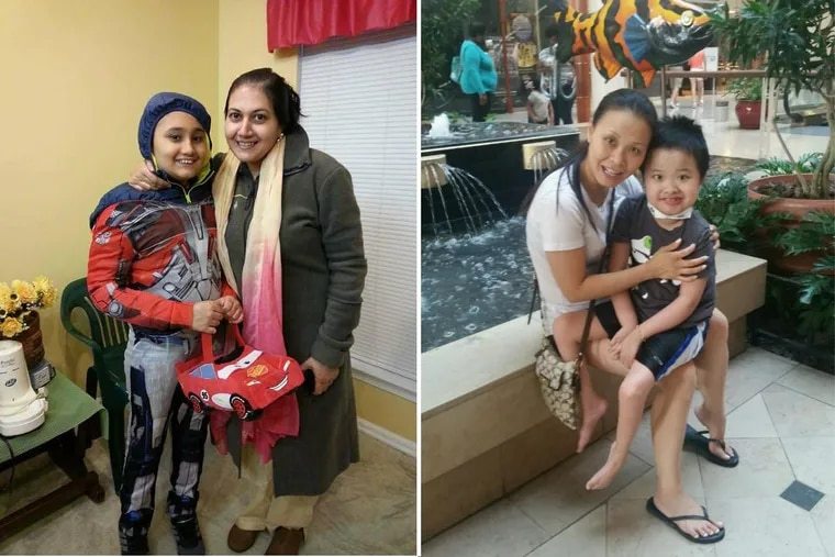 Areen Chakrabarti, left, and Jayden Auyeung, each shown here with his mother, have been diagnosed as brain dead at Children's Hospital of Philadelphia.