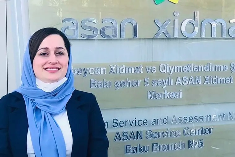 Hili Chakhansuri, 30, is seen here during a June diplomatic training in Azerbaijan, when she was working for the Foreign Ministry of Afghanistan. Her life endangered by the Taliban takeover, she fled the country and is now living at Joint Base MaGuire-Dix-Lakehurst while awaiting resettlement in the U.S.
