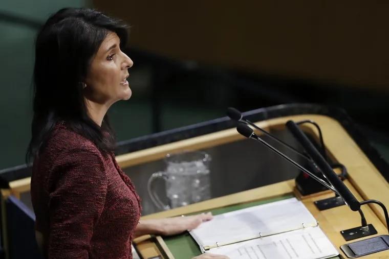 U.S. Ambassador to the United Nations Nikki Haley speaks at the U.N. General Assembly on Thursday.