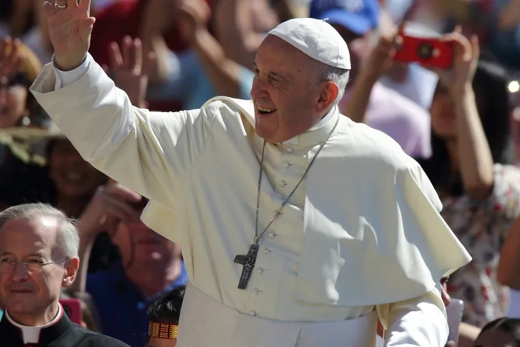 On June 27, 2018, in Vatican City, Pope Francis during his Wednesday General audience in St. Peter's Square at the Vatican. (Evandro Inetti/Zuma Press/TNS)