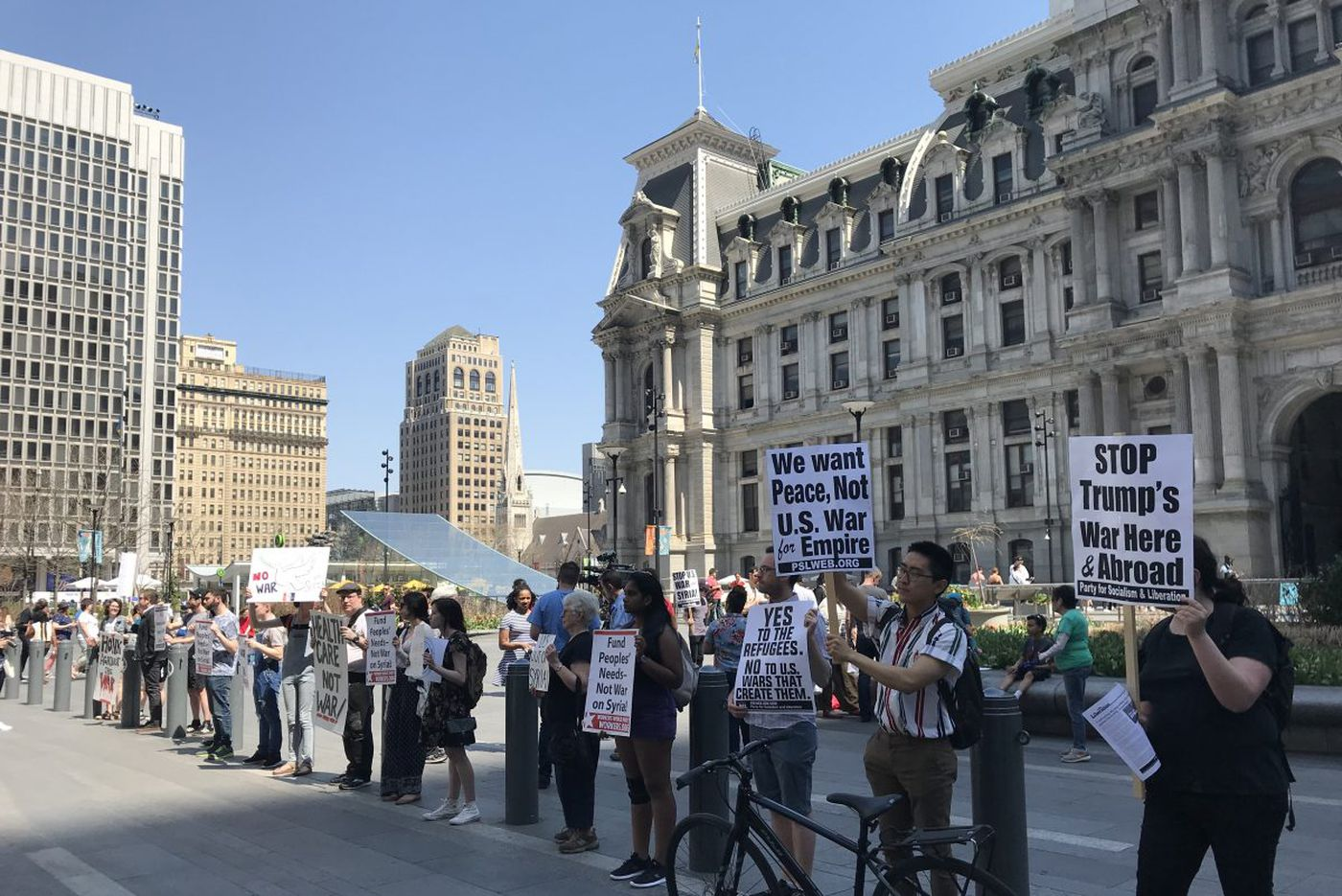 Local protesters demonstrate against U.S. military strikes in Syria