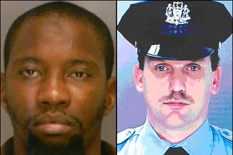 Eric D. Floyd (left) is the alleged driver in the May 2008 bank robbery that escalated into the killing of Philadelphia Police Sgt. Stephen Liczbinski (right).