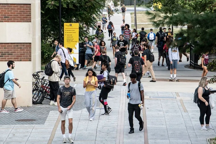 Students walk through campus at Rowan University in Glassboro, N.J. Tuesday, Sept. 24, 2019. Rowan is one of the fastest growing colleges in the country. (Jose F. Moreno/The Philadelphia Inquirer/TNS)