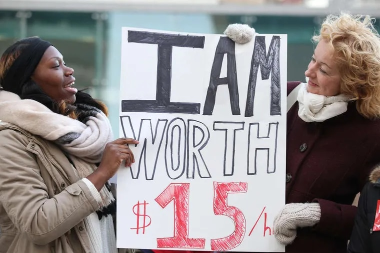 """Demonstrators for """"15 Now Philly"""" gathered last month in Center City to promote a hike in the city's minimum wage."""