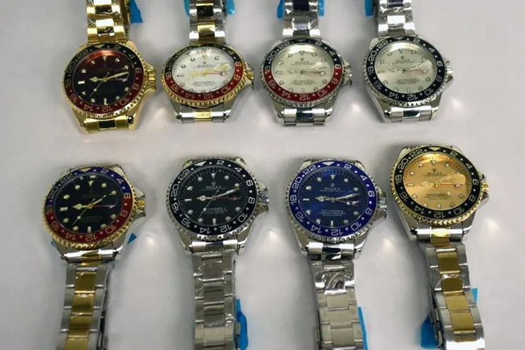 These eight counterfeit Rolex watches were seized by U.S. Customs and Border Protection agents in Philadelphia on Tuesday, March 24, 2020.