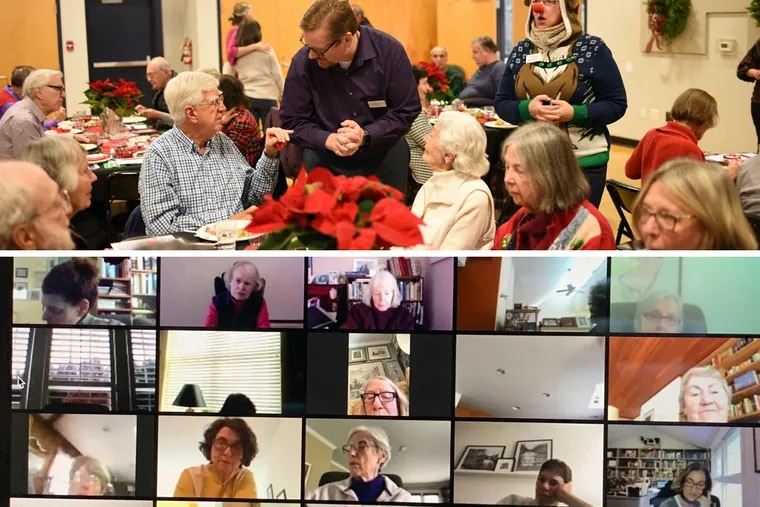 At top, the Princeton Senior Resource Center enjoys a holiday party in December 2019; below, seniors gather for a Zoom class with the Center, which has shifted all its programming online due to the coronavirus. But for many seniors, technology has proven a barrier.