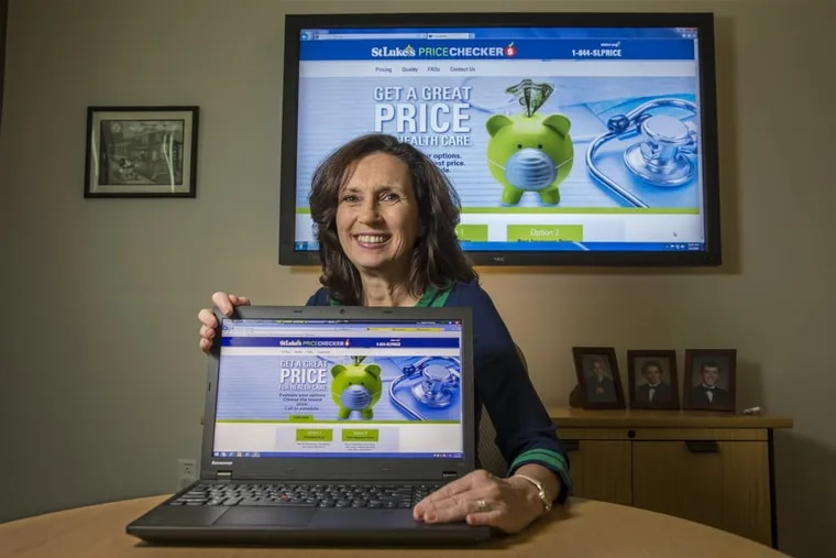 Gina Filipovits, of St. Luke's University Health Network, shows off the new online tool to help patients figure out how much something will cost in advance. The tool can give them a cash price and an estimate of what it will cost with their specific insurance plan. It also features an option to pay in advance – and get a discount.