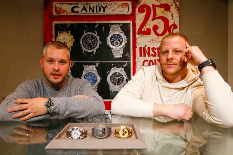 Authentick Luxury Watches manager Jacob Walter (left) and owner Eric Havkin in their Center City Philadelphia store on Thursday, November 14, 2019.