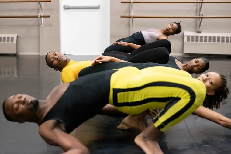 "Philadanco dancers rehearse Daniel Ezralow's ""Xmas Philes"" in teh company's West Philadelphia studio."