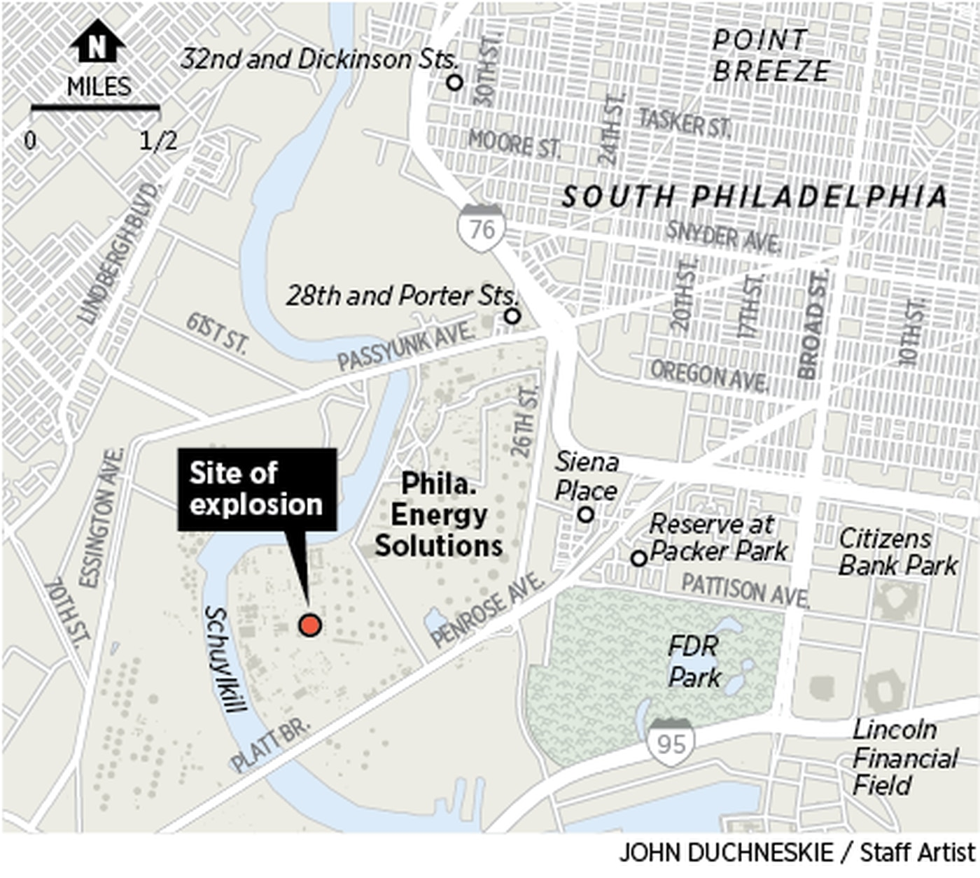 Updated locator map of the refinery explosion on June 21, 2019, at the Philadelphia Energy Solutions refinery in South Philadelphia