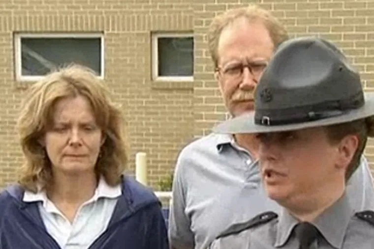 Janet Royer and her husband, Randy, pleaded for their son to come home in a short press conference outside the state police barracks in Skippack Monday afternoon.
