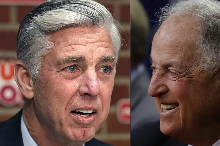Like former Phillies general manager Pat Gillick, right, in 2005, newly hired president of baseball operations Dave Dombrowski comes to town with two World Series rings and a wealth of experiences.