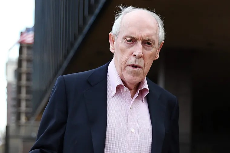 Payday lending pioneer Charles M. Hallinan faces federal charges of racketeering conspiracy, international money laundering and fraud.  He is seen here leaving the federal courthouse in Philadelphia on April 7, 2016.