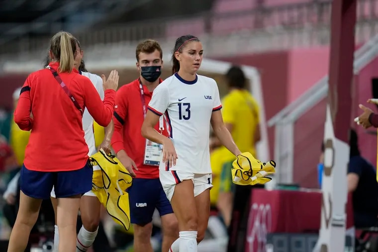 Alex Morgan leaves the field during the second half of the United States' scoreless tie with Australia at the end of the Olympics group stage.