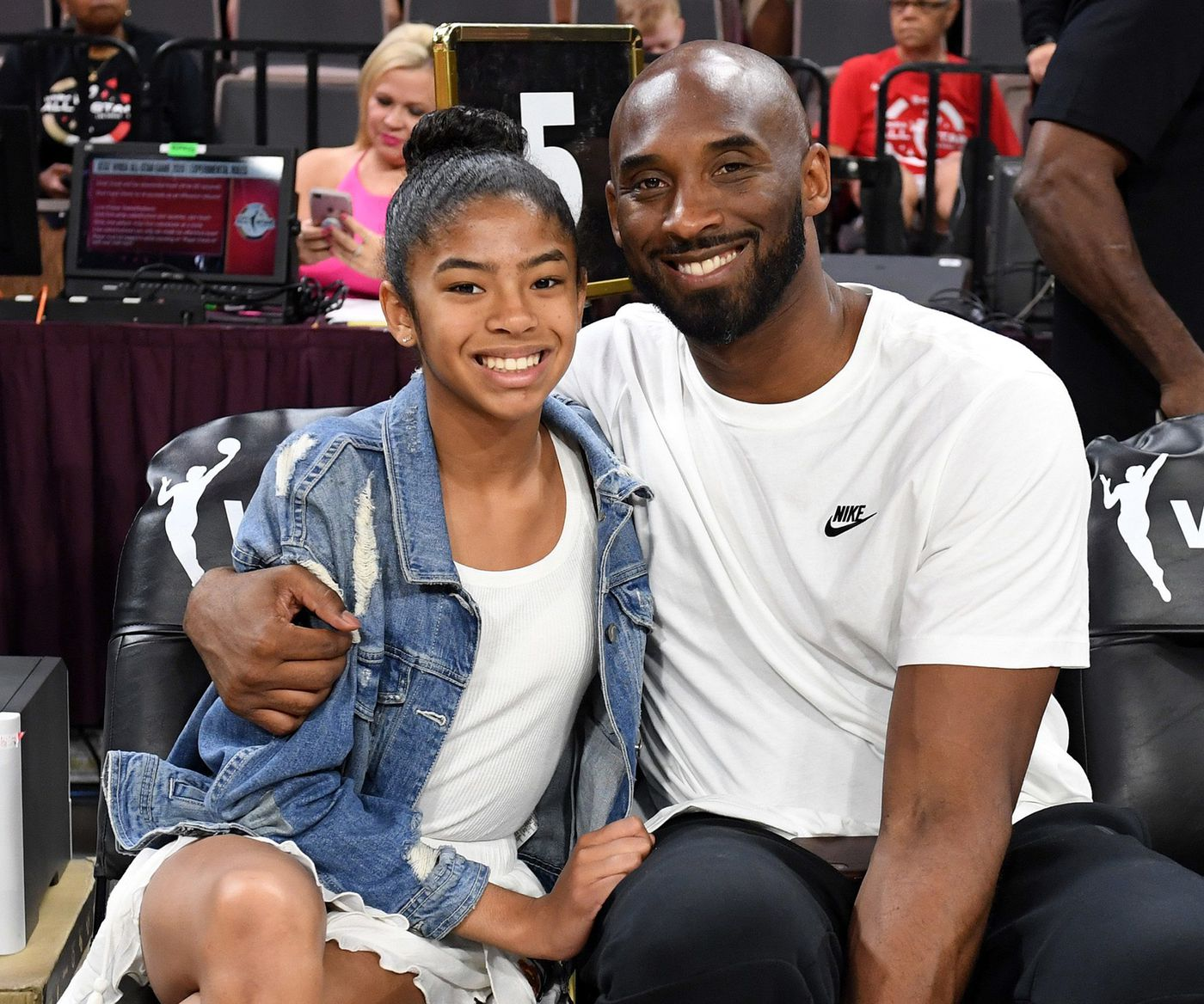Gianna Bryant and her father, former NBA player Kobe Bryant, attend the WNBA All-Star Game 2019 at the Mandalay Bay Events Center on July 27, 2019 in Las Vegas.