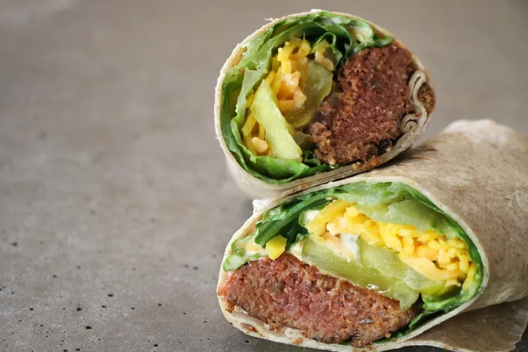 A Bryn Mac wrap from Bryn + Dane's made with plant-based Beyond meat and plant-based cheese.