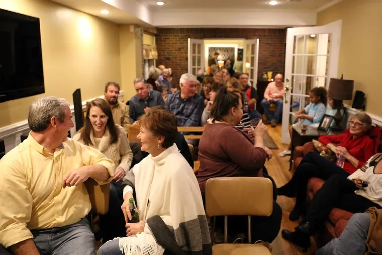 An audience awaits singer/songwriters Jess Klein and Mike June's performance during a recent house concert in Audubon, N.J.