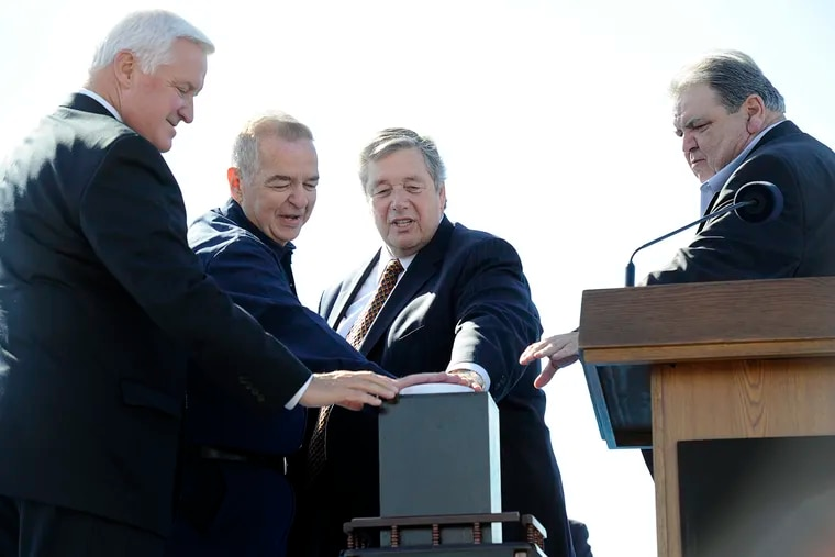 In better days, Tom Conway, International Vice President of the United Steelworkers (right) joined (from left) then-Gov. Tom Corbett; John Farrington, a worker at the refinery for 44 years; and refinery executive Phil Rinaldi for the 2012 restart of the former Sunoco refinery as Philadelphia Energy Solutions.