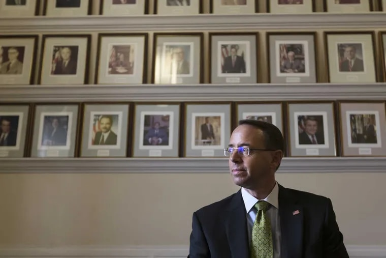 Deputy Attorney General, Rod Rosenstein, poses for a portrait in the U.S. Department of Justice building July 20, 2017.