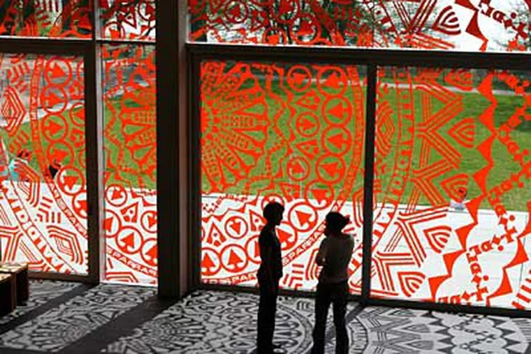 """""""Brand New View,"""" plotter-cut vinyl on window, to be installed at Moore College of Art and Design."""