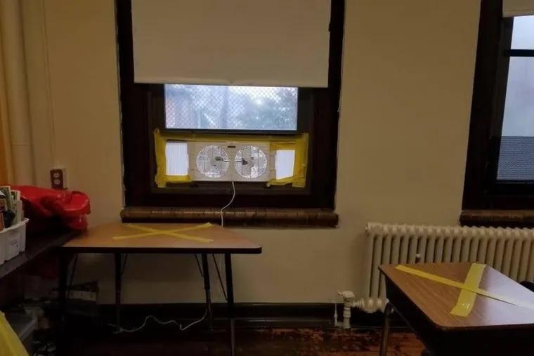 A window fan at John M. Patterson Elementary School.