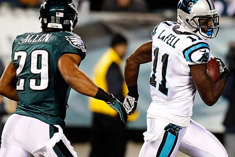 The Panthers gained 398 total yards against the Eagles Monday night. (Mel Evans/AP)