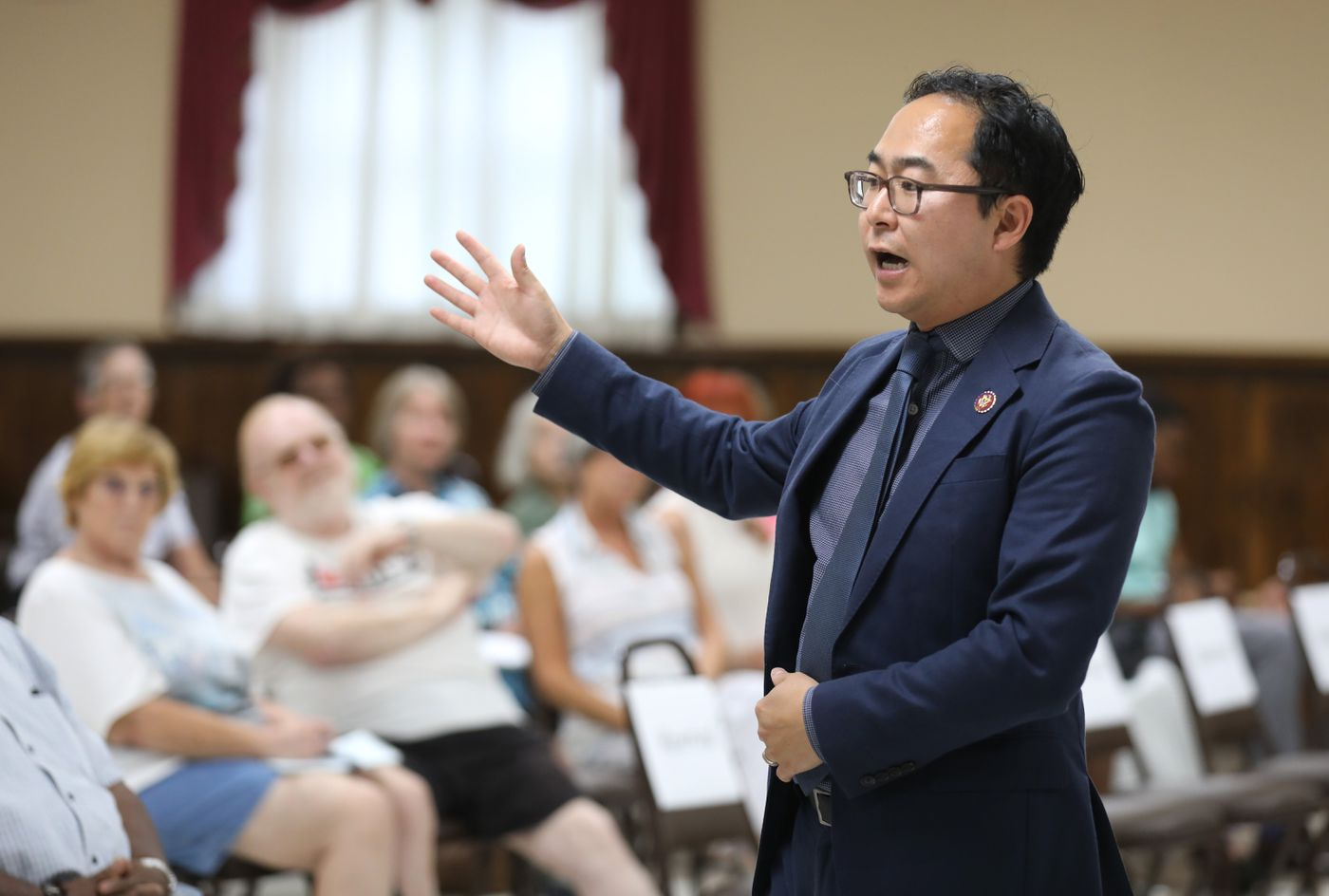 Congressman, Andy Kim is talking to the people in NJ constituents at Burlington Two Town HallÑ Andy Kim is speaking to the constituents 08-14-2019 AKIRA SUWA / For The Inquirer.