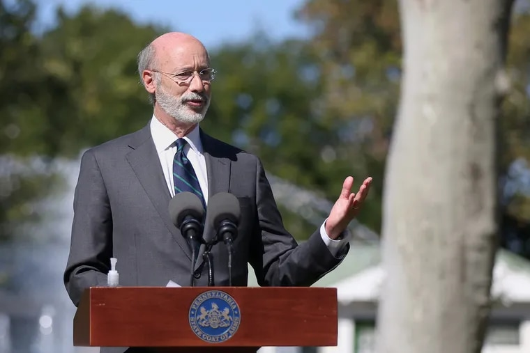 Gov. Tom Wolf speaks during a news conference about the coronavirus in Philadelphia in September. On Tuesday, his administration confirmed it will not appeal a decision that threw out a controversial constitutional amendment related to victims rights.