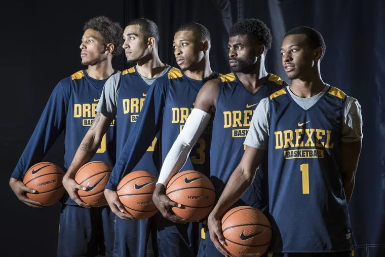 Drexel University's five guards for the 2017-18 season, From left, Miles Overton, Sammy Mojica, Troy Harper Jr, Tramaine Isabell, and Kurk Lee Jr.