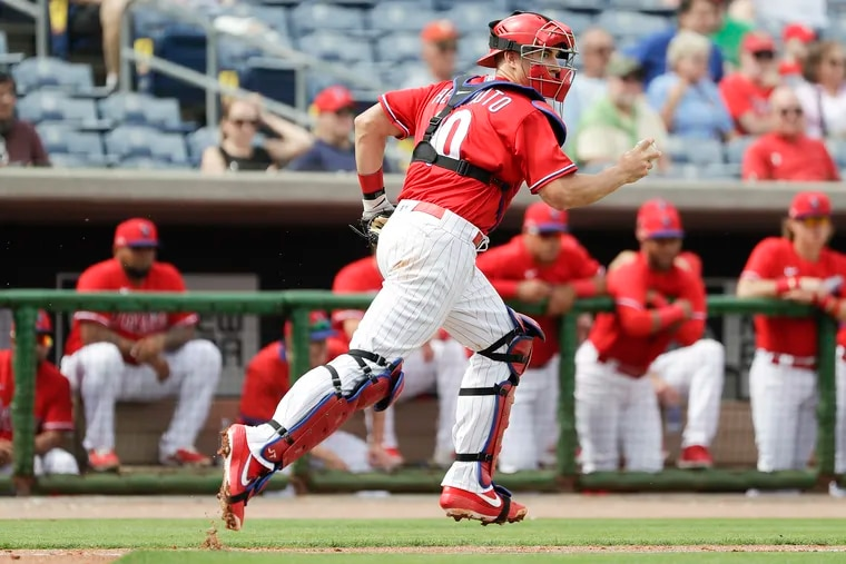 Phillies catcher J.T. Realmuto during a spring-training game against the Toronto Blue Jays in Clearwater, Fla., last February.