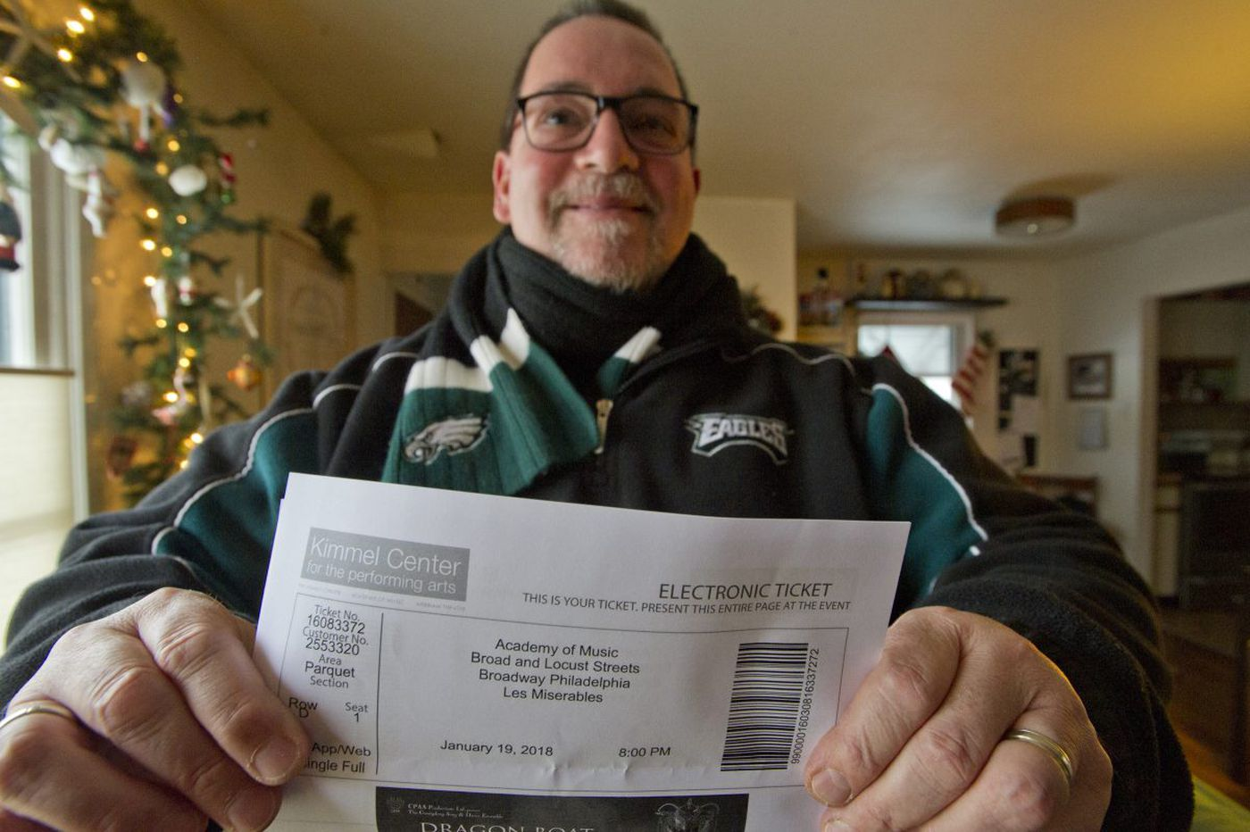 Les Mis Eagles fan makes it to the big game, after all