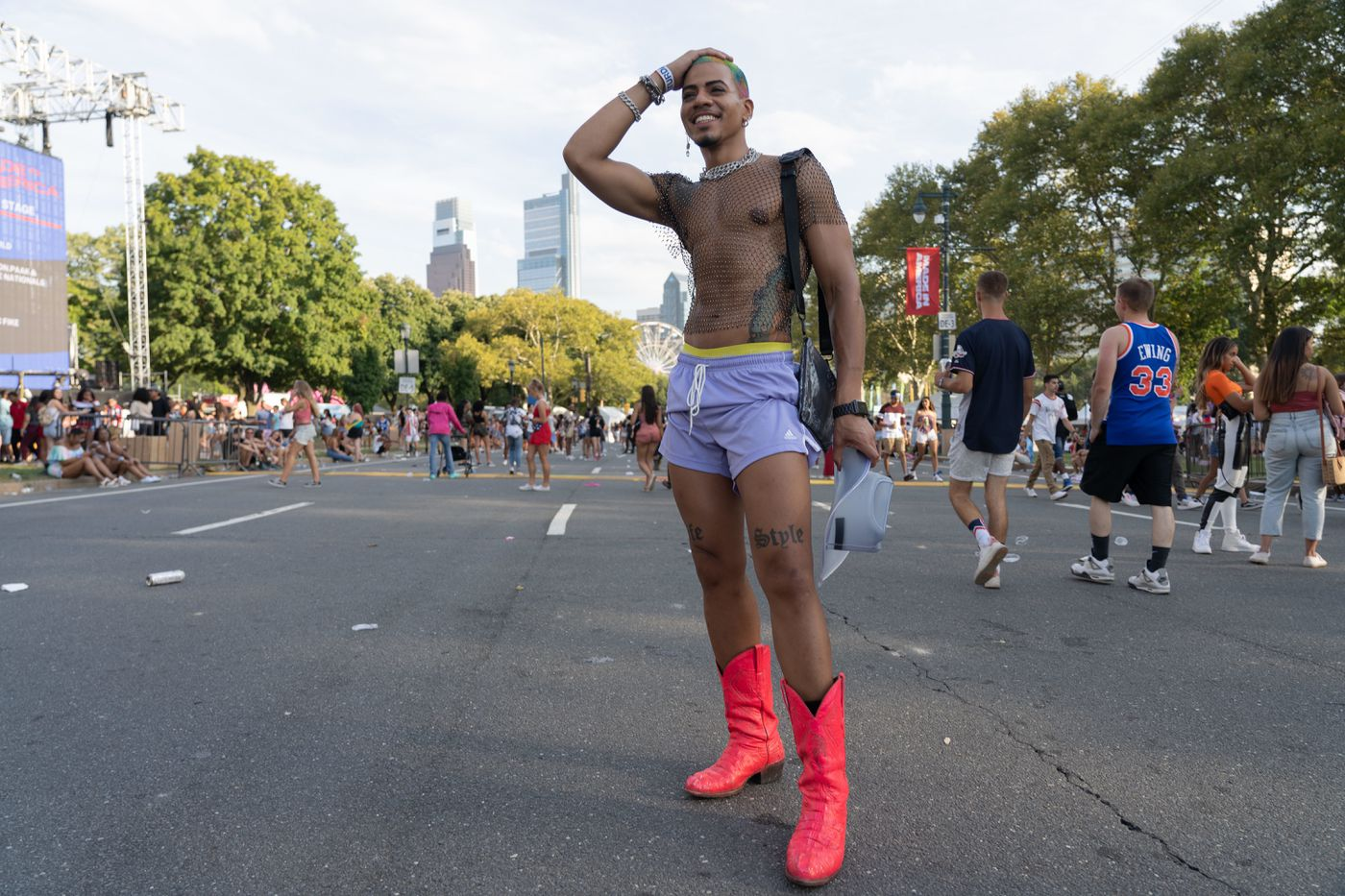 """Ivemil Polando, 28, from New York wearing his outfit from a thrift store and is here """" to keep the party going"""" at Made in America Festival on Benjamin Franklin Parkway in Center City, Philadelphia on Saturday, August 31, 2019."""