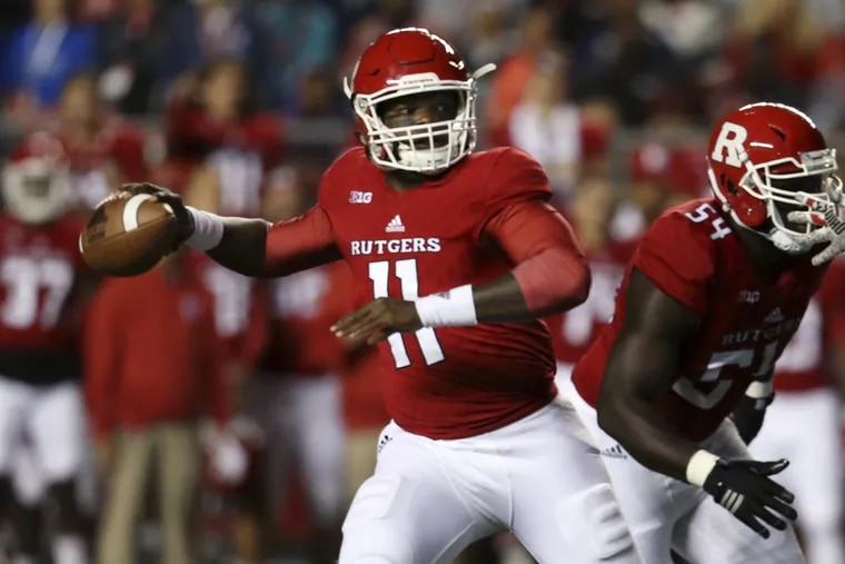 Rutgers quarterback Johnathan Lewis looks to pass against Ohio State on Sept. 30.