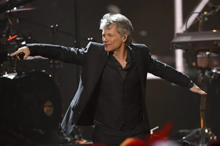 Inductee Jon Bon Jovi performs during the Rock and Roll Hall of Fame Induction ceremony, Saturday, April 14, 2018, in Cleveland.