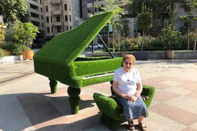 """Sirvart """"Silva"""" Kaloustian, a Main Line clothing designer, sits in a park in the Armenian city of Yerevan in September 2019. She died on Christmas Eve at age 89."""