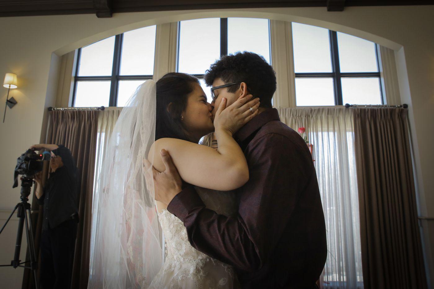 Valentine's Day vows: A wedding postponed seven times, a math teacher on her lunch break