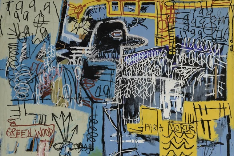 """Detail from Jean-Michel Basquiat's """"Bird On Money"""" (1981), at the Barnes Foundation"""