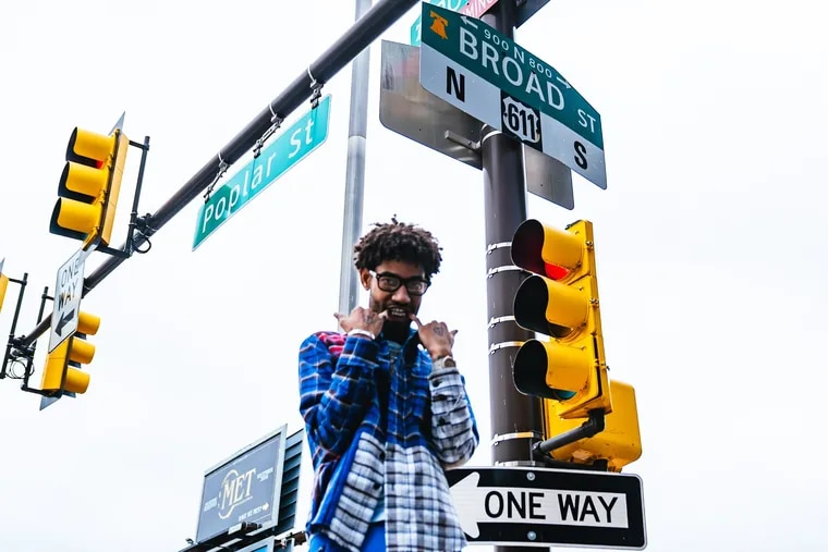 PnB Rock in front of The Met at Broad and Poplar