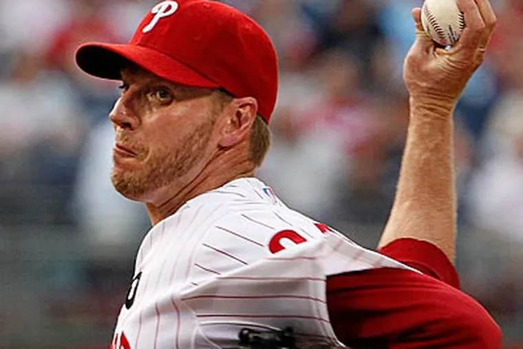 Roy Halladay pitched seven scoreless innings and struck out nine batters against the Cubs. (Ron Cortes/Staff Photographer)