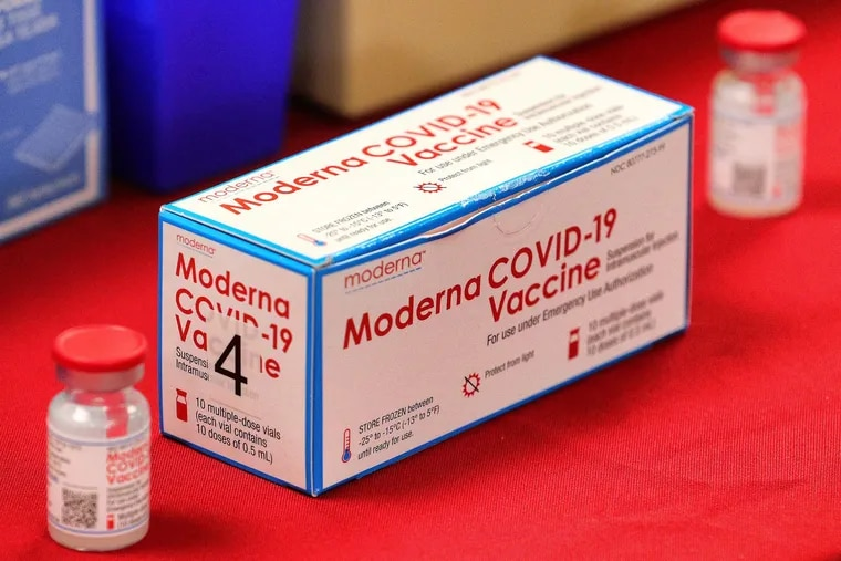 A box of Moderna COVID-19 vaccine vials on display during a press conference in Florida earlier this month.