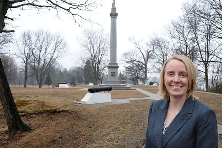 """""""I think it's just as compelling a story as Valley Forge,"""" Jennifer Janofsky, curator of the Red Bank Battlefield Park in National Park, N.J., says of the 1777 battle for Fort Mercer. CLEM MURRAY / Staff Photographer"""