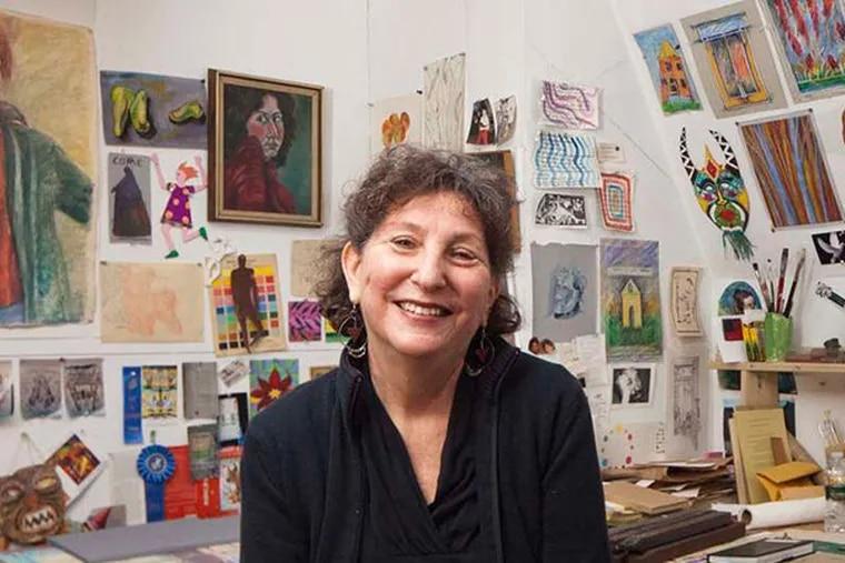 Deborah Zuchman in her art studio in her home in Philadelphia, February 24, 2014.  ( DAVID M WARREN / Staff Photographer )