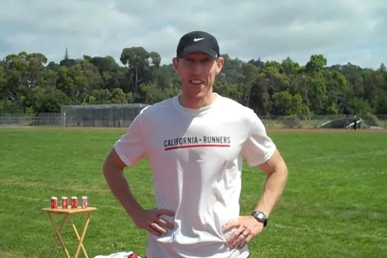 James Nielsen, who set the world record in the Beer Mile, posing, drinking and celebrating after his run last week in California.