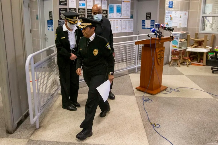 Philadelphia Department of Prisons Commissioner Blanche Carney leaves a news conference at Curran-Fromhold Correctional Facility after a man was shot and killed on prison grounds in March.