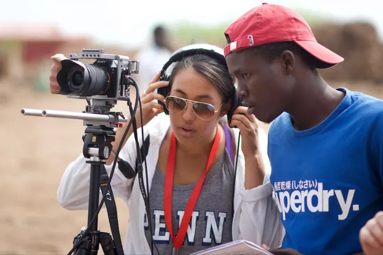 Penn students and alumni of the FilmAid training program work together to make a short documentary about resources at the Kalobeyei Refugee Settlement in Kenya.