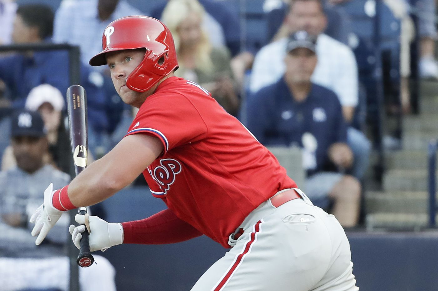 Rhys Hoskins dealing with sore shoulder but Phillies confident he'll be ready for opening day