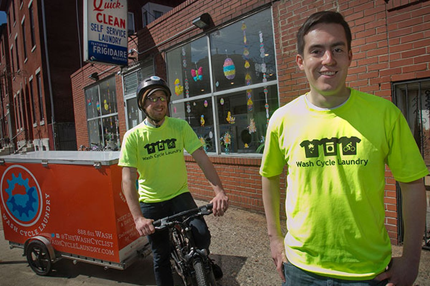They haul thousands of pounds of laundry on bikes