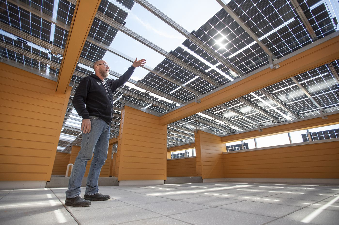 Architect Tim McDonald on the roof of Front Flats, which is shaded by a large solar panel array.